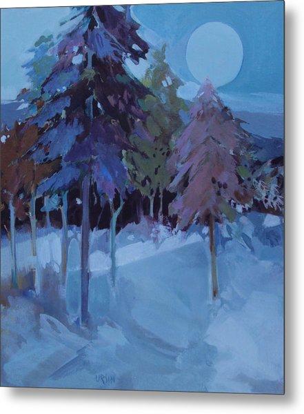 Full Moon And Pines Metal Print