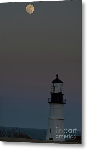 Full Moon Over Portland Headlight. Metal Print