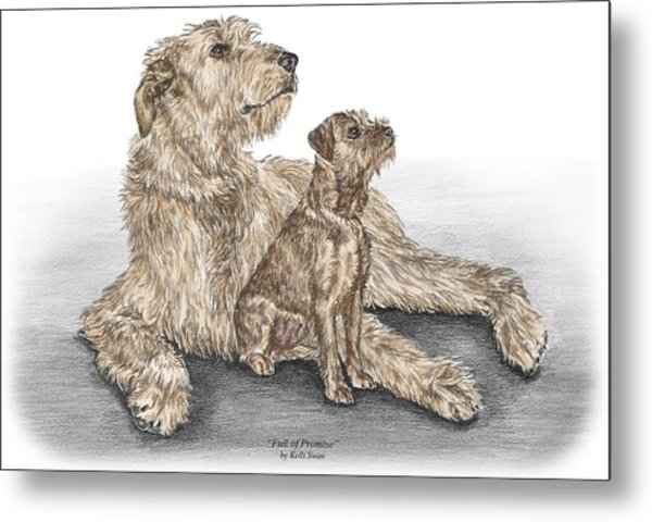 Full Of Promise - Irish Wolfhound Dog Print Color Tinted Metal Print