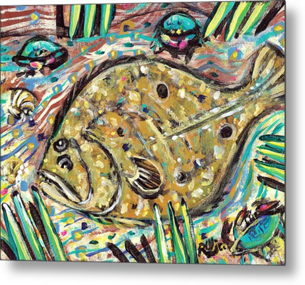 Funky Folk Flounder Metal Print