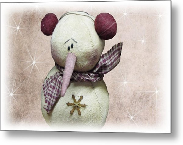 Fuzzy The Snowman Metal Print