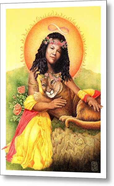 Gaian Tarot Strength Metal Print by Joanna Powell Colbert