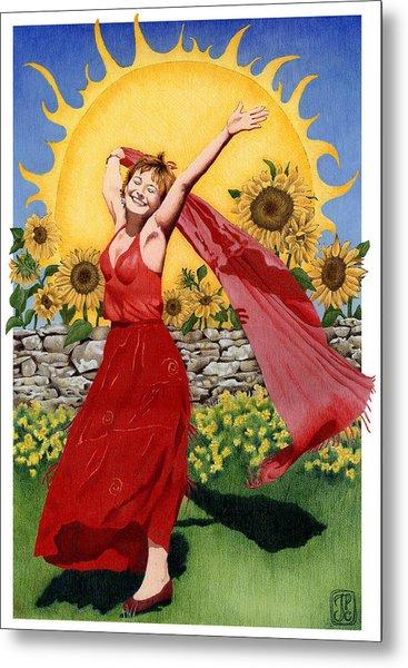 Gaian Tarot Sun Metal Print by Joanna Powell Colbert