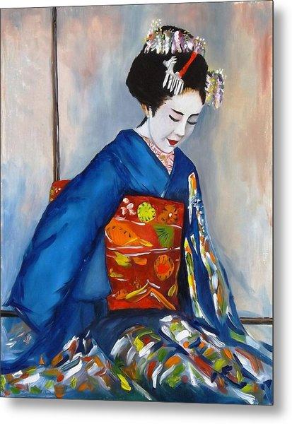 Geisha In Blue Kimono Metal Print