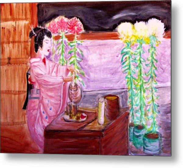 Geisha Tea Ceremony Metal Print