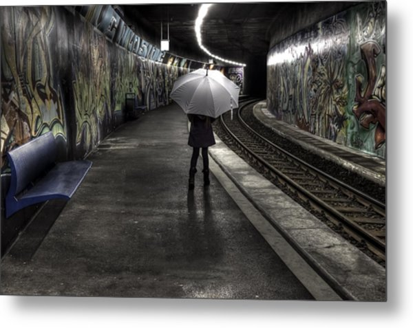 Girl At Subway Station Metal Print
