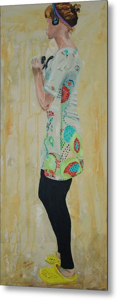 Girl In The Yellow Shoes Metal Print by Kevin Callahan