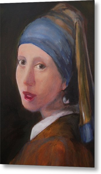 Girl With A Pearl Earring - Reproduction Metal Print by Lisa Konkol