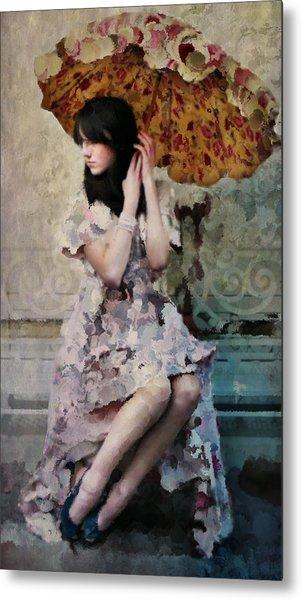 Girl With Parasol Metal Print