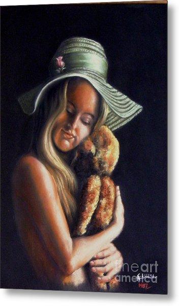 Girl With Teddy Metal Print
