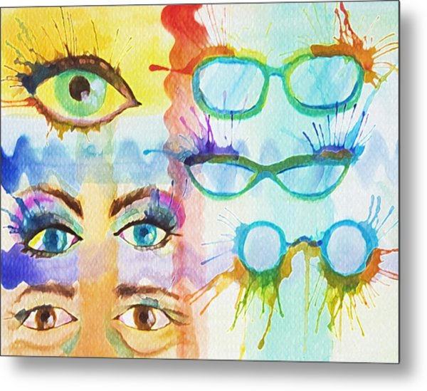 Metal Print featuring the painting Glasses And Lashes by Angelique Bowman