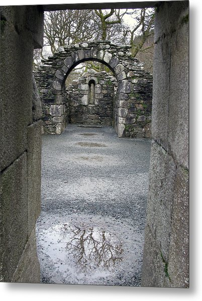 Glendalough Monestery Ireland Priest's House Metal Print by Richard Singleton