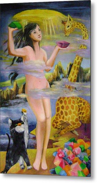 Goddess Who Seals The Sky With Color Rocks Metal Print by Lian Zhen