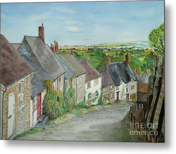 Gold Hill  Shaftesbury Metal Print by Yvonne Johnstone