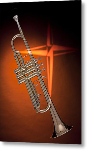 Gold Trumpet With Cross On Orange Metal Print