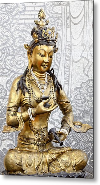 Golden Kuan Yin Metal Print