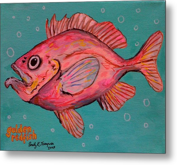 Golden Redfish Metal Print by Emily Reynolds Thompson