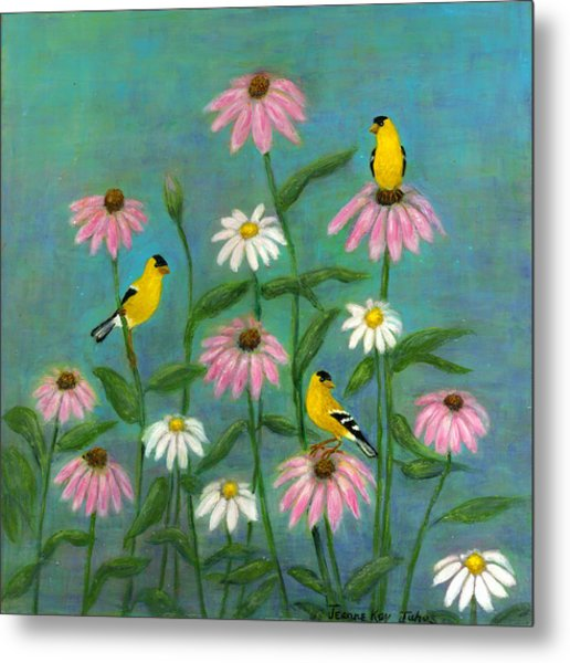 Goldfinch And Cone Flowers Metal Print