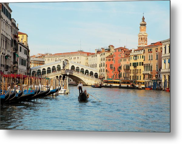 Gondola At The Rialto Metal Print