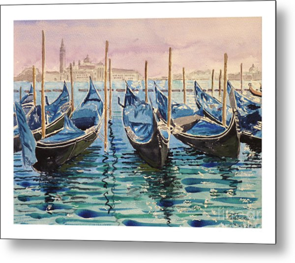 Gondolas At The Pier Venice Metal Print