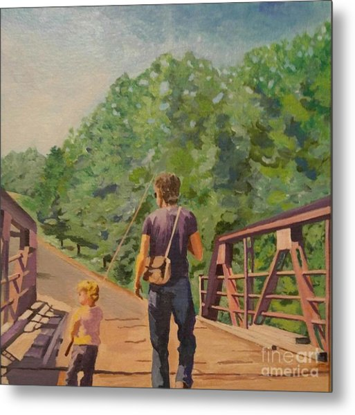 Gone Fishing With Dad Metal Print