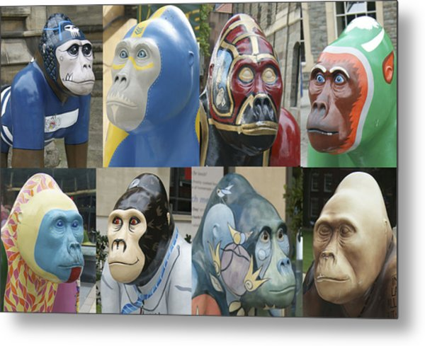 Gorillas In The Street Metal Print