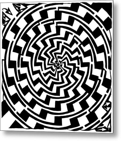 Gradient Tunnel Spin Maze Metal Print by Yonatan Frimer Maze Artist