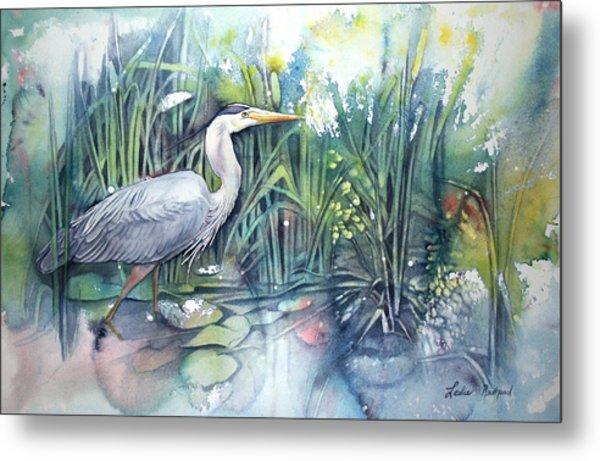 Great Blue Heron Metal Print by Leslie Redhead