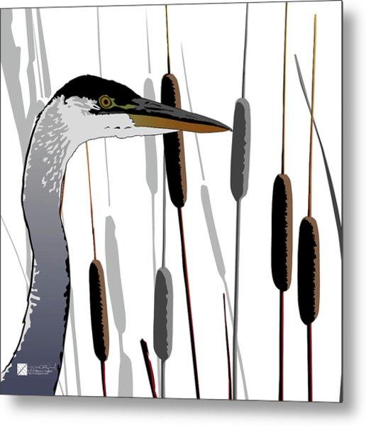 Great Blue Heron - Light Background Metal Print