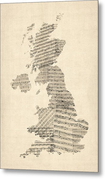 Great Britain Uk Old Sheet Music Map Metal Print