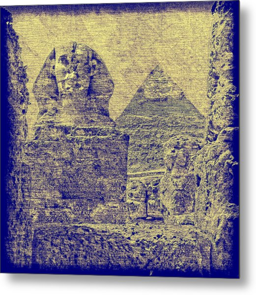 Great Sphinx And Pyramid Of Khafre Metal Print