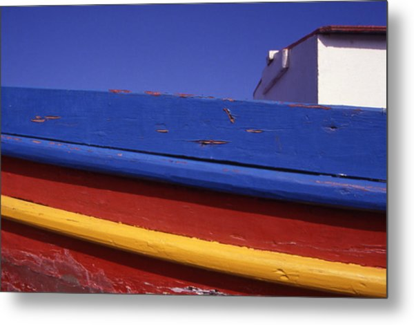 Greece. Colorful Fishing Boat Metal Print by Steve Outram