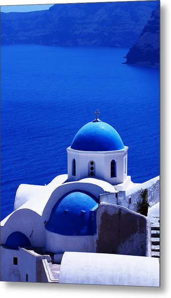 Greek Blue Vertical Metal Print