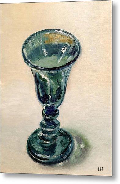 Green Glass Goblet Metal Print