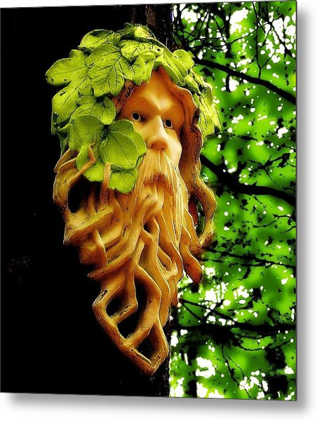Green Man Metal Print by Jen White