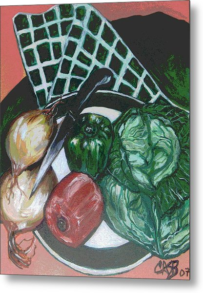 Green Plate Of Cabbage Soup Metal Print by Clara Spencer
