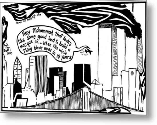 Ground Zero Mosque Maze Cartoon By Yonatan Frimer Metal Print by Yonatan Frimer Maze Artist