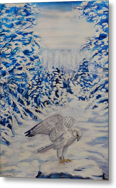 Gryfalcon In Taos Metal Print by George Chacon