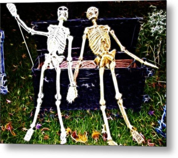 Halloween Skeleton Couple Metal Print