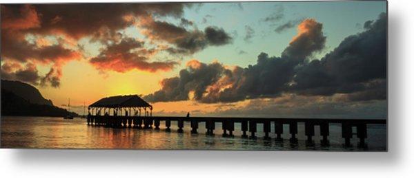 Hanalei Pier Sunset Panorama Metal Print