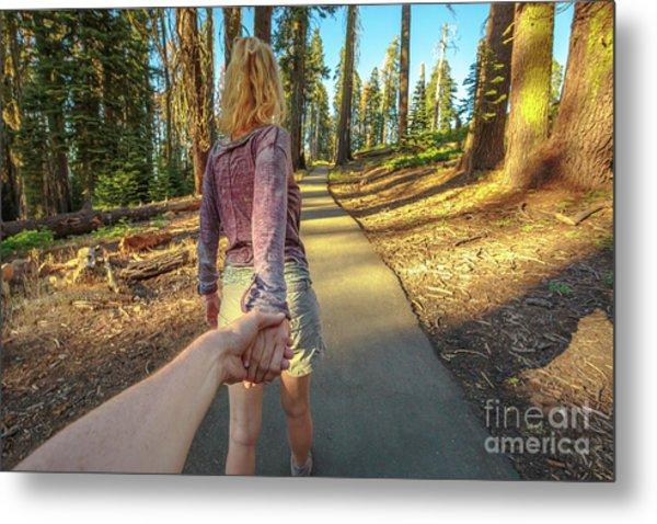 Hand In Hand Sequoia Hiking Metal Print