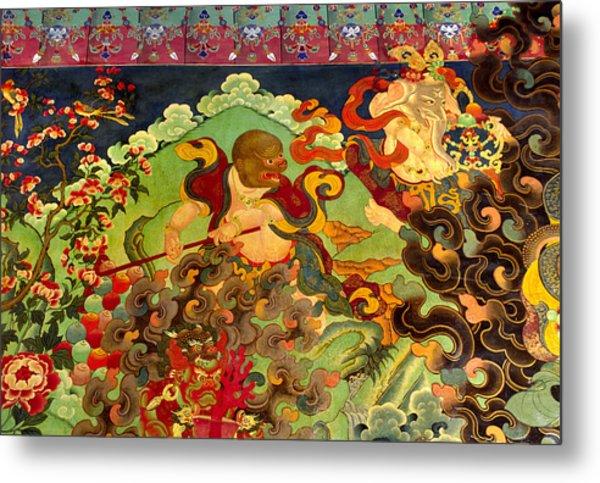 Hanuman Mural - Sera Monastery Tibet Metal Print
