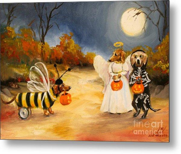Happy Halloweenies Dachshund Art Metal Print by Stella Violano