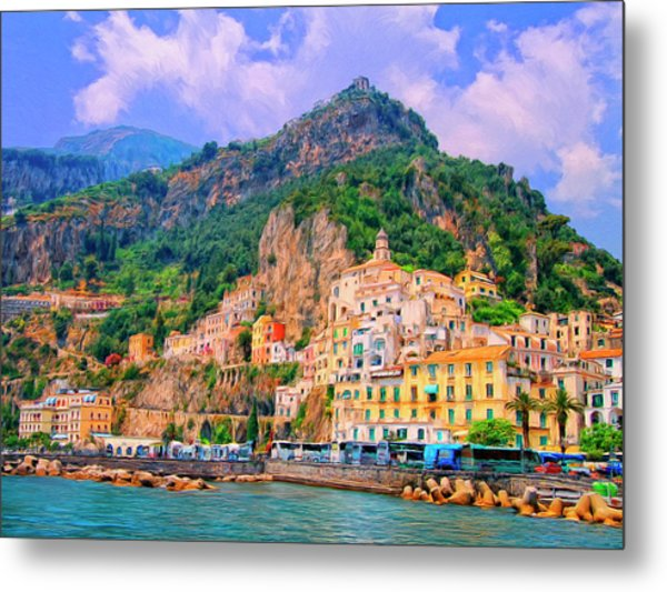 Harbor At Amalfi Metal Print