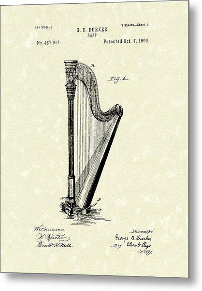 Harp 1890 Patent Art Metal Print