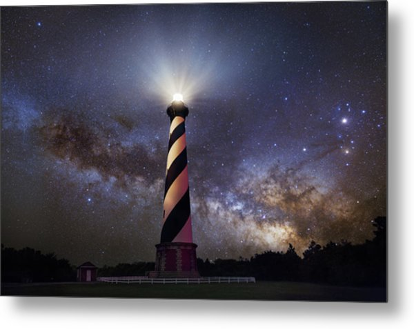 Hatteras Lighthouse And Milky Way Metal Print