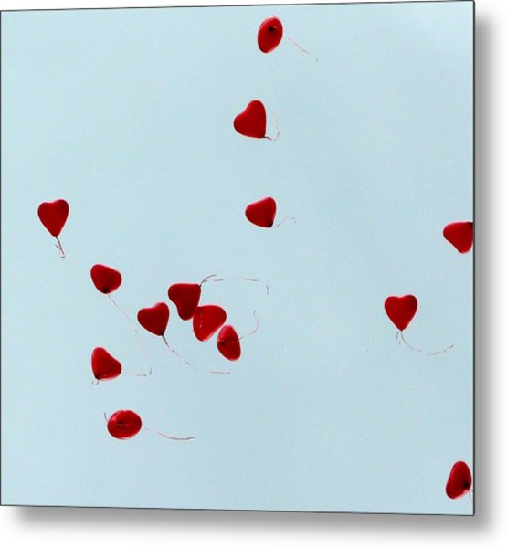 Heart Balloons In The Sky Metal Print