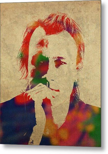 Heath Ledger Watercolor Portrait Metal Print