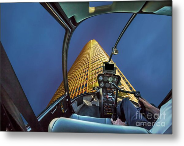 Helicopter On Skyscaper Facade Metal Print