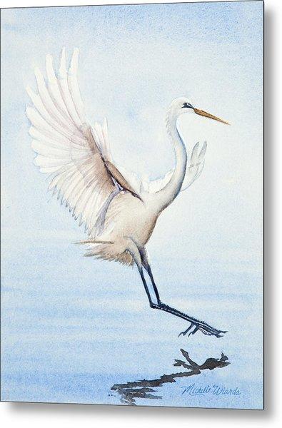 Heron Landing Watercolor Metal Print